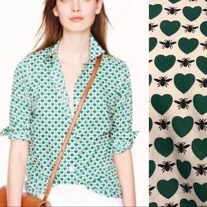 💚🐝 J. Crew Perfect Green Heart Bee Print Blouse